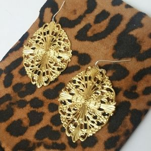 Gold Floral Oblique Earrings